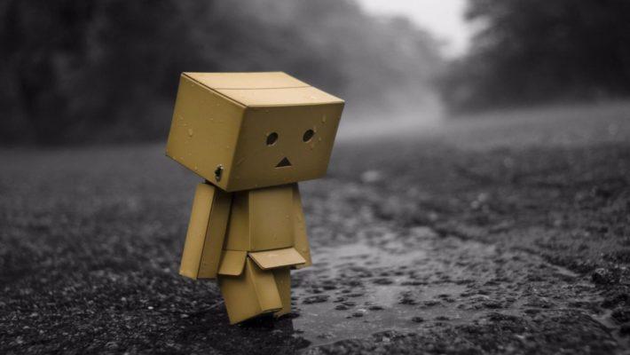 Box person in rain